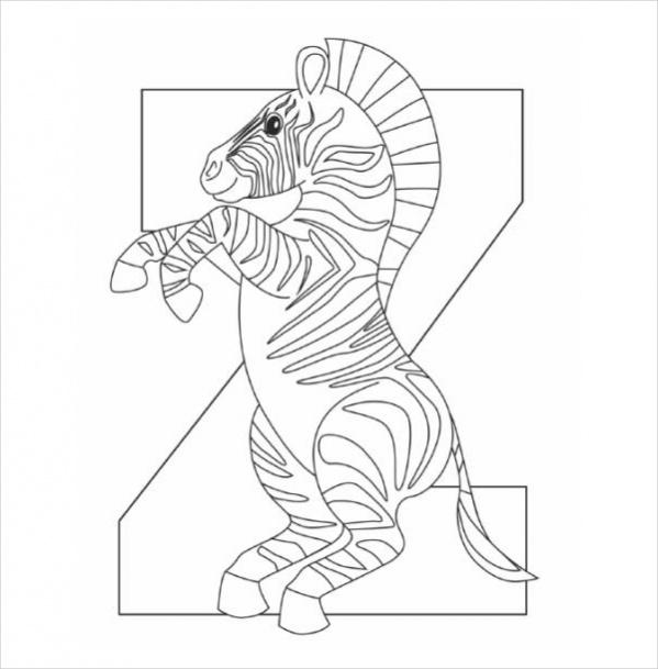 Z Alphabet Zebra Coloring page