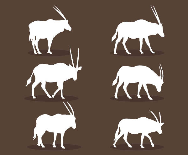 white oryx silhouette vector
