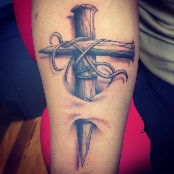 3D Cross Tattoo