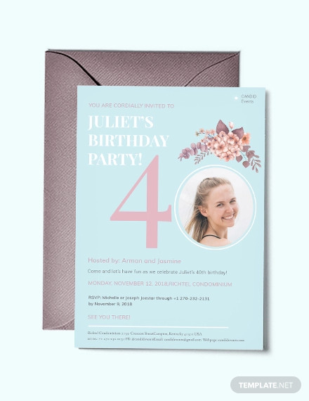 40th birthday invitation