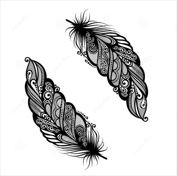 Abstract Feather Drawing