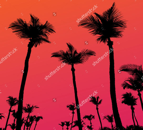 Abstract Palm Tree Silhouette