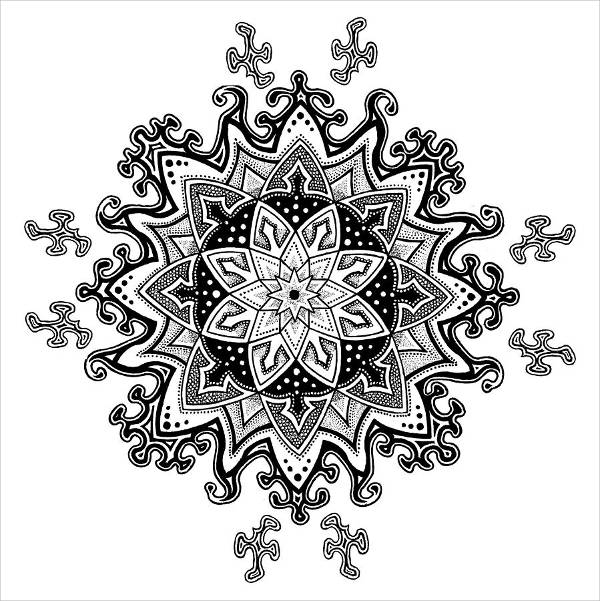 Abstract Snowflake Drawing