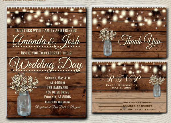 Affordable Rustic Wedding Invitation