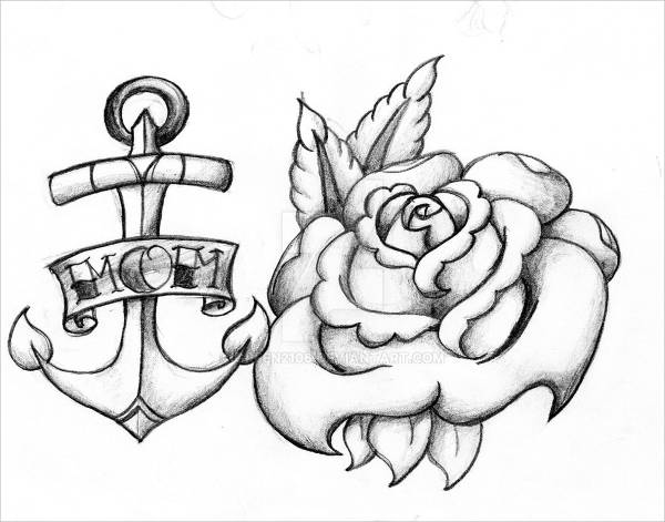 Anchor Drawing with Roses