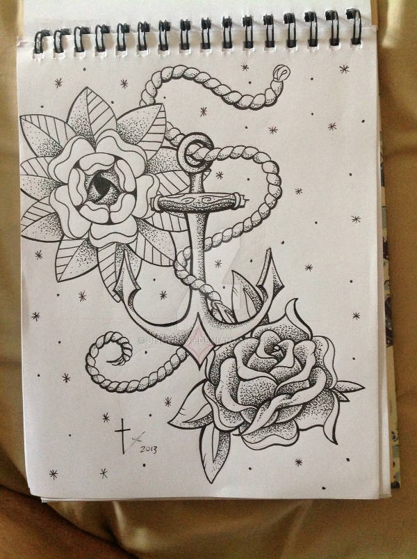 Anchor and Flower Drawing
