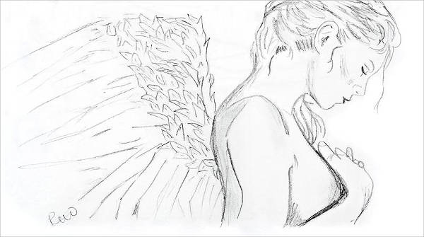 Angel Line Drawing
