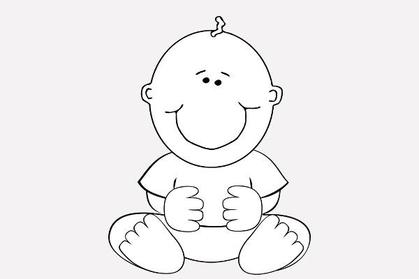 Baby Black and White Clip Art