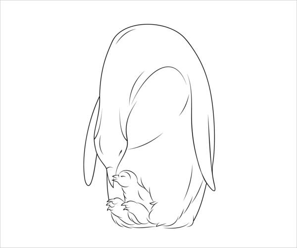 Baby Penguin Coloring Page