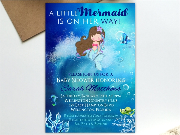 Baby Shower Mermaid Party Invitation