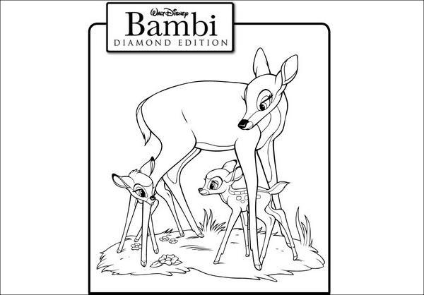 Bambi Cartoon Coloring Page
