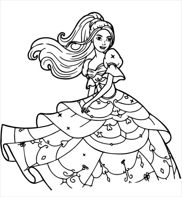 Barbie Cartoon Coloring Page