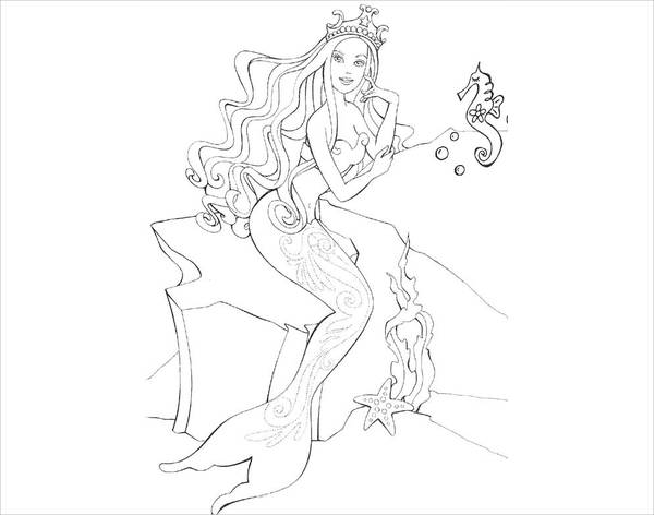 Barbie Mermaid Coloring Page