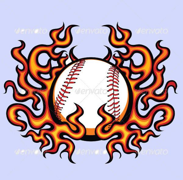 Baseballl Flame Vector