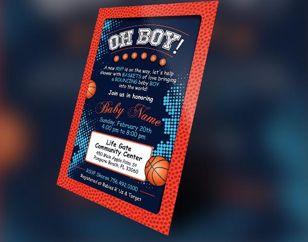 Basketball Baby Boy Shower Invitation