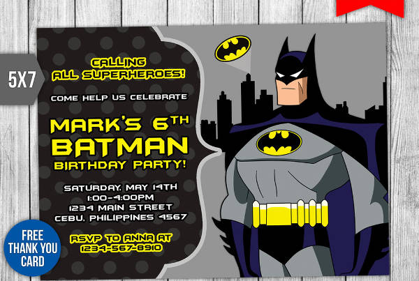 Batman PSD Invitation