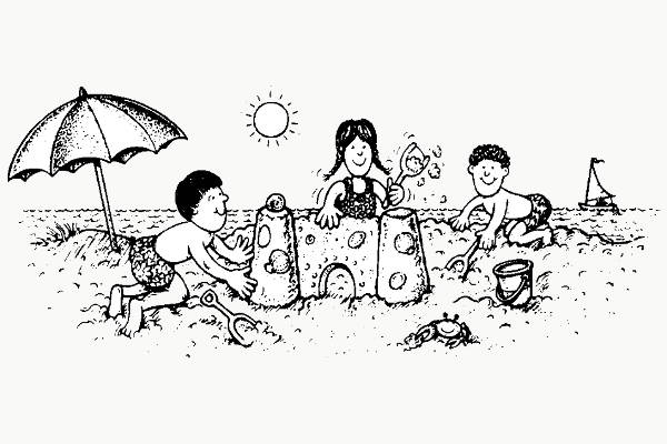 Beach Black and White Clipart