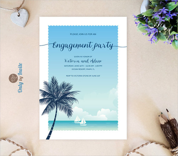 Beach Themed Engagement Invitation