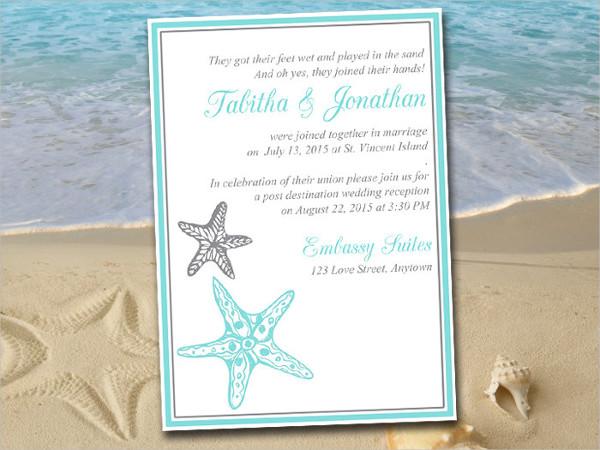 Beach Wedding Reception Invitation