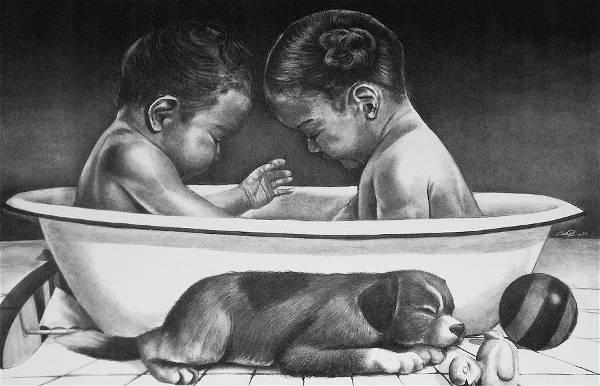 Beautiful Twin Babies Drawing