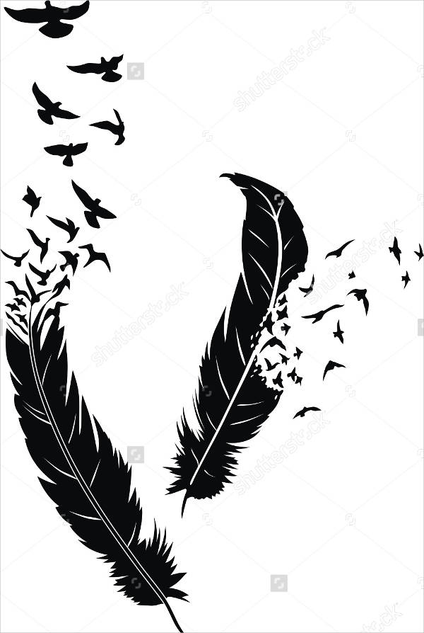 Bird Feather Tattoo Design