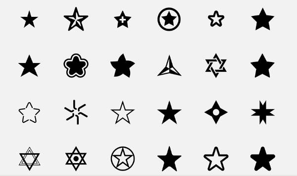 Black Shaded Star Icons