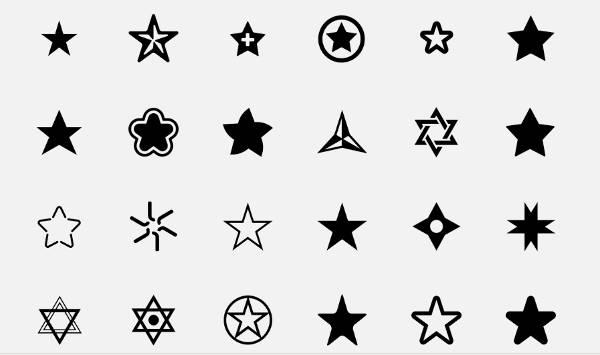 Black Shaded Star Icons