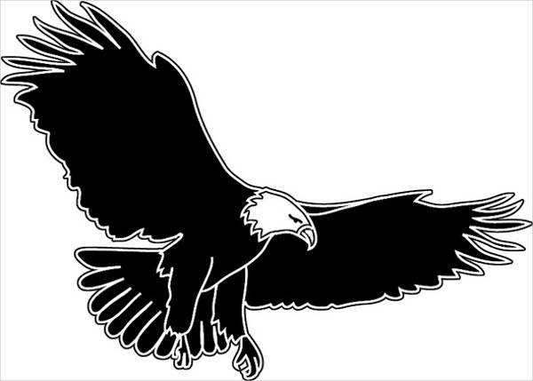 Black & White Eagle Clipart Silhouette