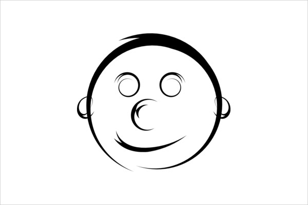Black & White Smiley Face Clip Art