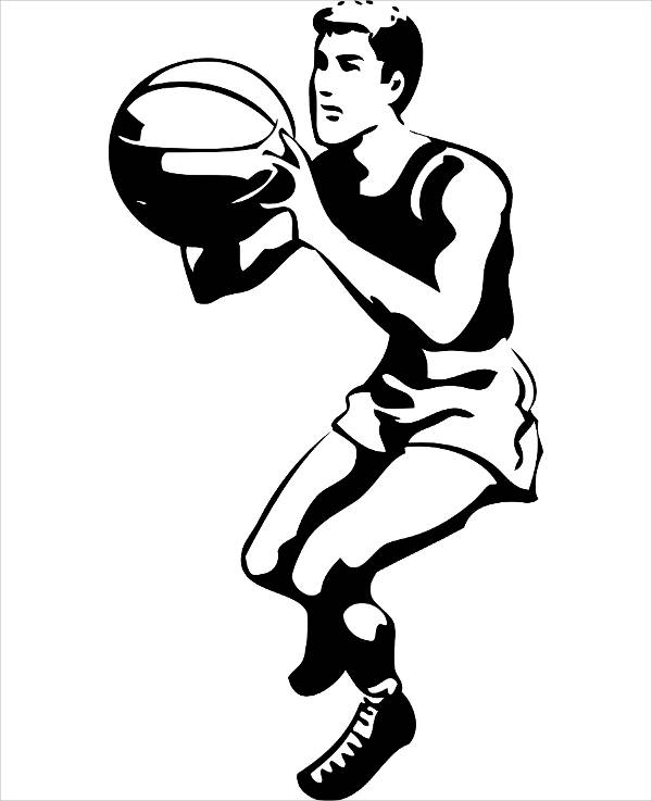 Black and White Basketball Clipart