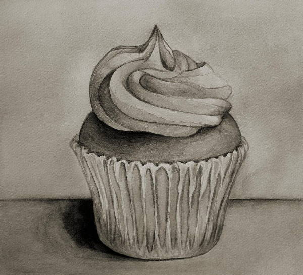 Black and White Cupcake Drawing