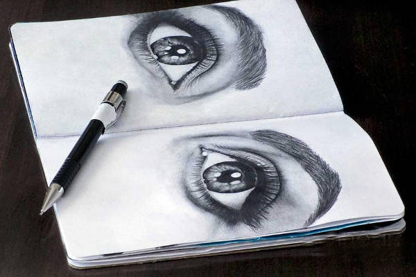 black and white drawing of eyes