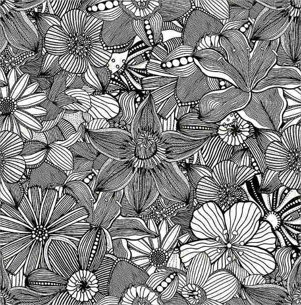 Black and White Flower Illustration