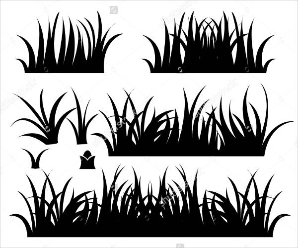 Black and White Grass Vector