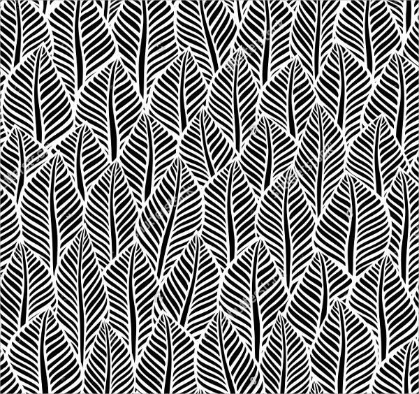 Black and White Leaf Pattern