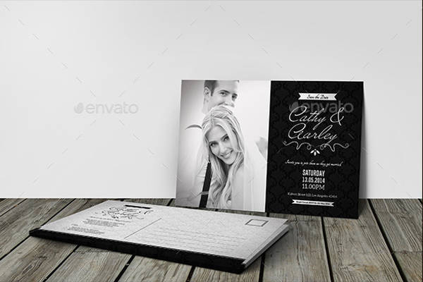 Black and White PSD Wedding Invitation