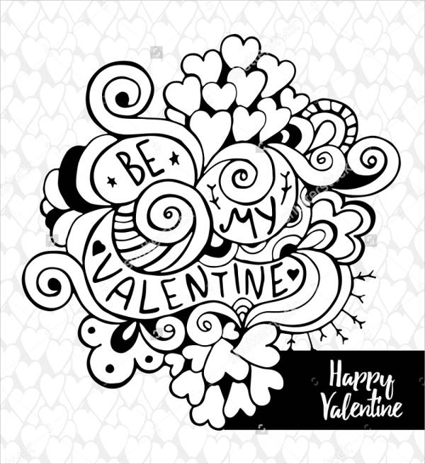 Black and White Printable Valentine Card