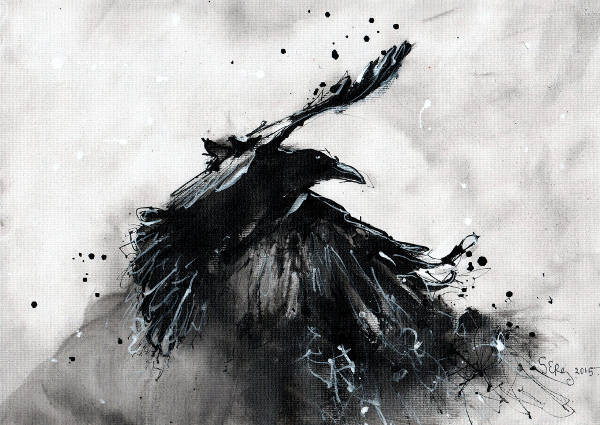 Black and White Raven Painting