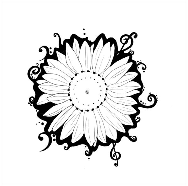 Black and White Sunflower Drawing