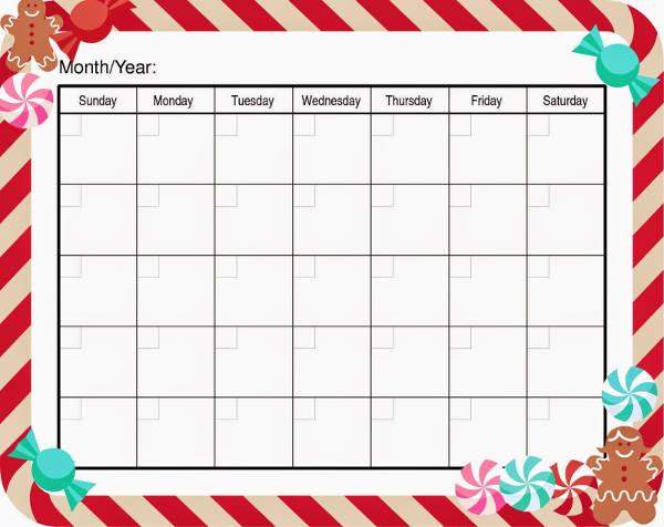 Blank Holiday Calendar