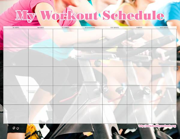 Blank Workout Calendar