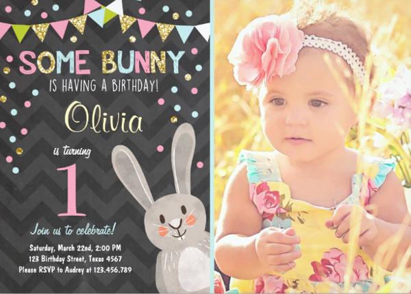 Bunny Photo Invitation