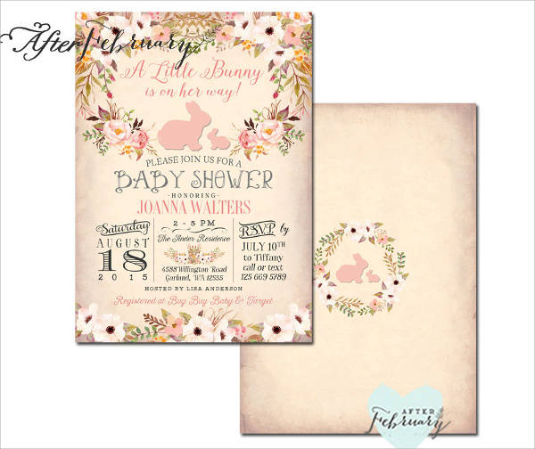 Bunny Themed Baby Shower Invitation
