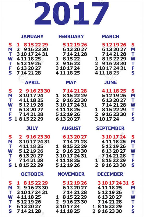 Business Month Calendar