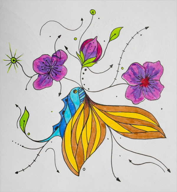 Butterfly on Flower Painting