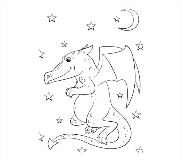 Cartoon Dragon Coloring Page