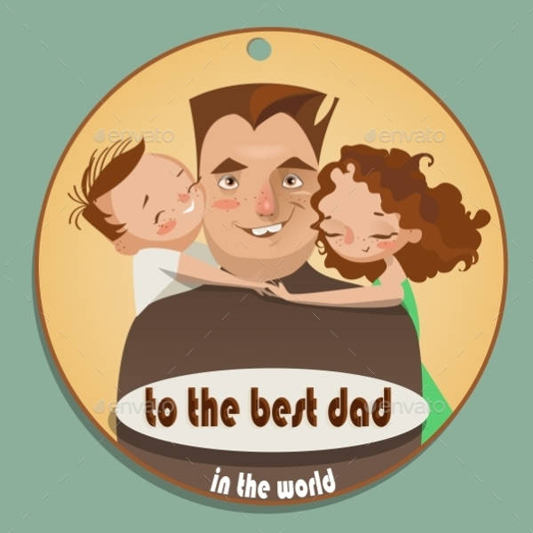 Cartoon Happy Fathers Day Card