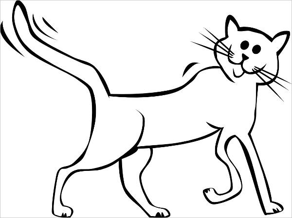 Cat Black and White Clipart