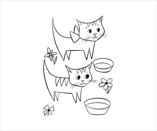 Cat Coloring Page for Preschoolers