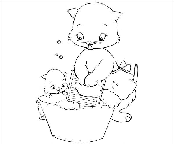 cat kitten coloring page